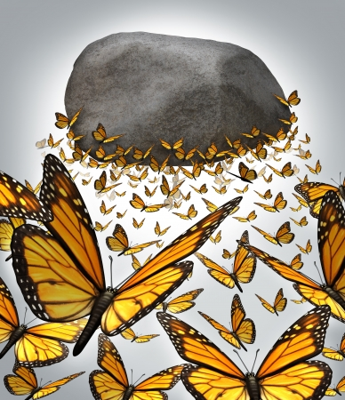 overcome a challenge: Group strength and the power of working together as a business concept with a team of monarch butterflies forming a solid organised partnership to overcome the challenge of lifting  a heavy rock boulder up in the air  Stock Photo