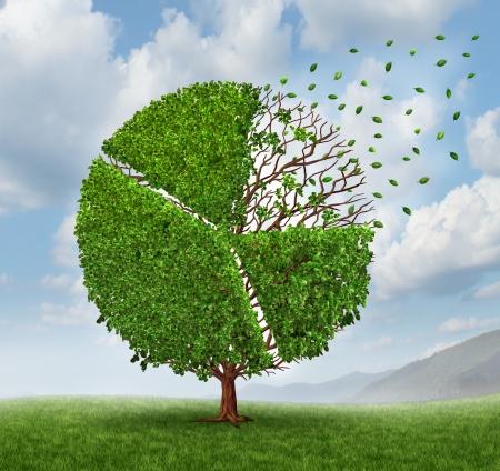 Het verliezen van marktaandeel cirkeldiagram als een groeiende groene boom met bladeren vliegen en vallen af als een business concept van de concurrentie verlies als een financiële grafiek grafiek symbool van economische uitdagingen