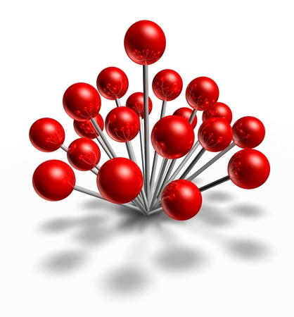 Popular location and hot spot with a group of red pushpins as a navigation symbol of a travel places and position also a concept of social popularity business meeting on a white background Stock Photo - 18547379