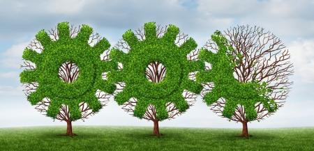 desarrollo económico: Desarrollo empresarial y el concepto de la creciente industria de árboles con forma de engranaje o rueda dentada conectada junto con el crecimiento económico futuro por delante sobre un fondo de cielo de verano