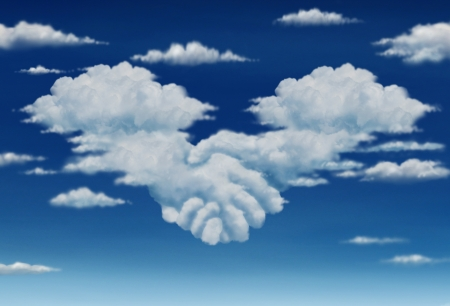 heavenly: Contract agreement vision in a meeting of a group of two cumulus clouds on a blue sky shaped as hands of business people coming together to form a strong collaboration for the future  Stock Photo