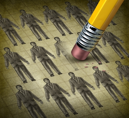 Cutting staff and employee job reduction concept reducing costs at a business with a grunge texture image of business people being erased by a pencil as a symbol of resource management  Banque d'images