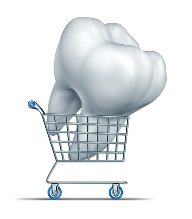 lowers: Dental insurance shopping and choosing an affordable tooth protection strategy including medical group plan that lowers the price of oral care including braces root canal and fixing teeth costs with a cart carrying a molar