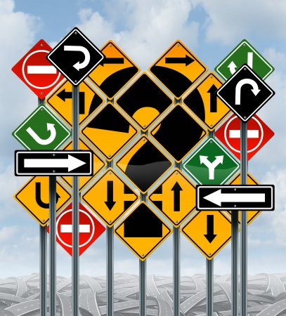 business dilemma: Direction choices choosing a strategy or path as a business concept with confusing different yellow red green  street signs and tangled roads as dilemma questions for solutions for success on a sky background  Stock Photo