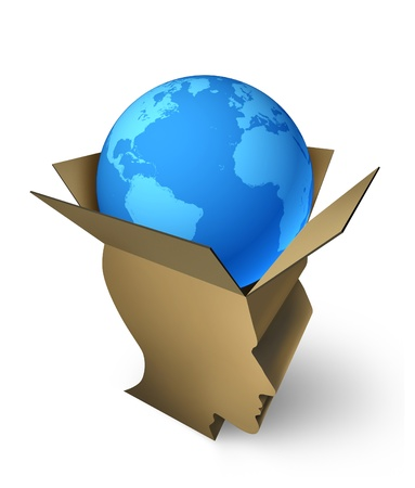 manage transportation: Global shipping management package delivery with a world sphere of north america and an open cardboard box in the shape of a human head as managing freight distribution and transportation of goods