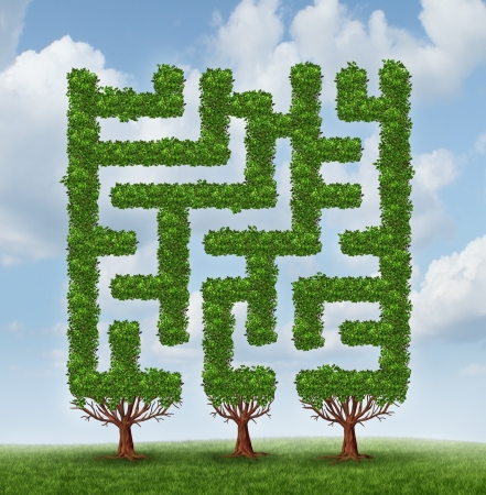 complication: Growing challenges as a business concept of future complicated financial risks ahead with a group of trees shaped as a maze or labyrinth on a summer sky