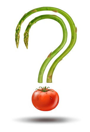 food research: Healthy eating choices and diet answers to fresh food questions with asparagus and a tomato in the shape of a question mark as a natural health concept of groceries ingredients
