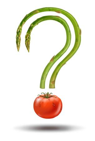processed food: Scelte alimentari sane e dieta risposte alle domande alimentari fresche con asparagi e un pomodoro a forma di un punto interrogativo come un concetto di salute naturale di ingredienti alimentari Archivio Fotografico