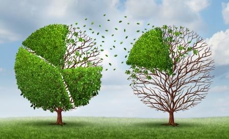 camembert graphique: D�placement des parts de march� avec un groupe d'arbres en forme de graphiques diagramme � secteurs financiers comme un concept de financement de transf�rer des fonds et des capitaux propres d'une entreprise ou d'une industrie � l'autre sur un fond de ciel d'�t�