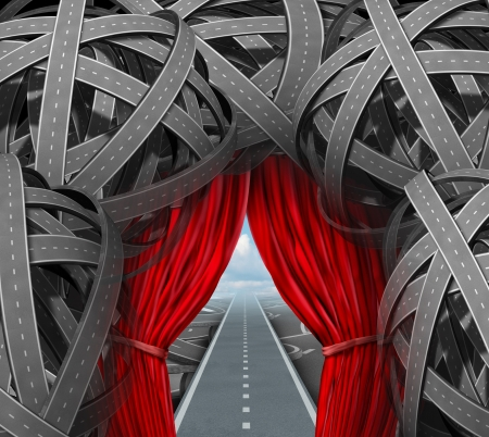 off path: Strategic opportunity cutting through the confusion with clear strategy and solutions for business leadership with a straight path to success with open red curtains leading through a maze of tangled roads and highways