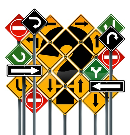 Choosing a strategy or path as a business concept with confusing different yellow red green direction street signs showing dilemma questions looking for solutions for success isolated on white Stock Photo - 18699824