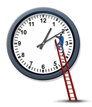 gestion del tiempo: Gesti�n del tiempo y establecer un tiempo para una cita de negocios con un empresario como un organizador personal que sube una escalera roja para cambiar y mover las manecillas de un reloj para administrar un programa de Foto de archivo