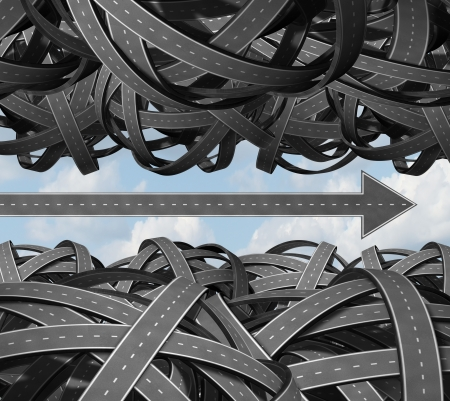 breaking free: Clear path business success concept with a group of tangled and confused three dimensional roads grouped together and an individual highway shaped as an arrow breaking free from the clutter and moving forward  Stock Photo