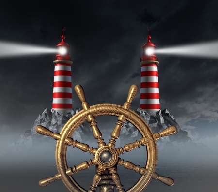 right path: Decision Stress crossroad and choosing the right path away from danger and hazardous choices in business with a ship wheel and two opposite shinning light lighthouse towers on a foggy night sky