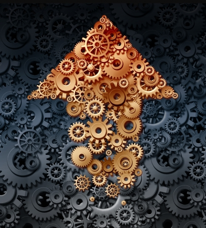 Growing industry with a group of gears and cogs coming together to form the shape of an upward arrow for the business concept of financial success  photo