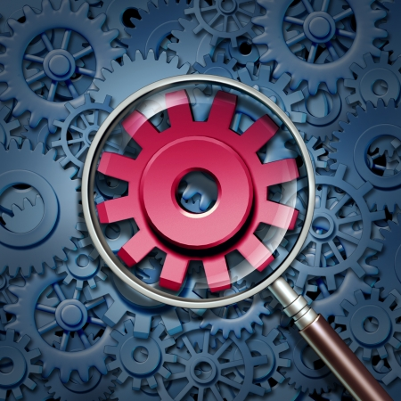 Industry expertise and focus as a business concept with gears and cogs connected together as a financial partnership with a red cog in a magnifying glass as an icon with a closer look at a company