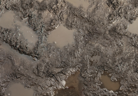 muddy: Mud texture or wet brown soil with natural organic clay and geological sediment mixture as in rughing it in a dirty muddy country road bog after the rain or rainy season found in a damp moist climate