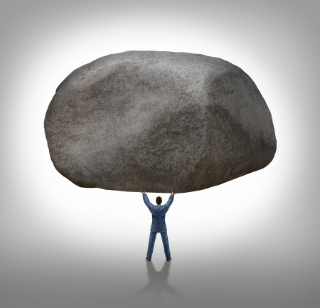 inspiration determination: Power of leadership with the ability to inspire as a businessman lifting up a huge boulder removing a large obstacle and leading by example as a business concept of success and determination
