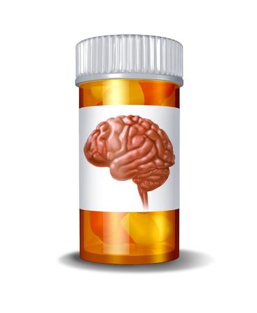 Psychiatrische drugs en de hersenen, geneeskunde, medische concept met een recept medicatie fles met pillen binnen en een label met een afbeelding van een menselijk brein voor de gezondheidszorg en de farmaceutische therapie Stockfoto