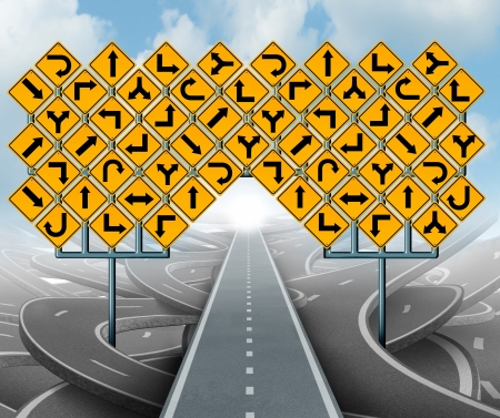 succeeding: Solutions for business leadership as a clear strategy and with a straight path to success choosing the right strategic path with yellow traffic signs cutting through a maze of tangled roads and highways  Stock Photo