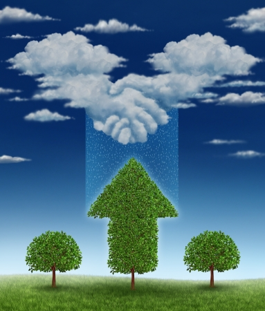 is raining: Agreement for growth business concept with a group of clouds coming together shaped as a handshake between businessmen that is raining rain drops on a growing tree that has an upward arrow shape  Stock Photo