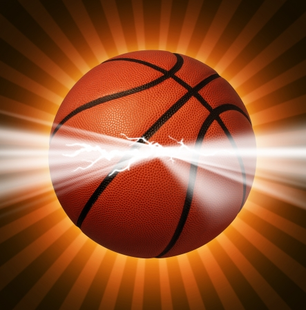 international basketball: Basketball power as energy light bursting out of the ball as a sports symbol of extreme team game play for championships or tournaments