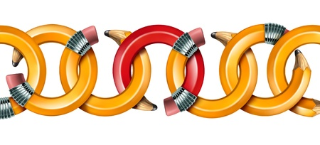 Creative network concept with curved pencils as chain links linked together with a red pencil as the key link holding the team in solidarity isolated on a white background Stock Photo - 18982369