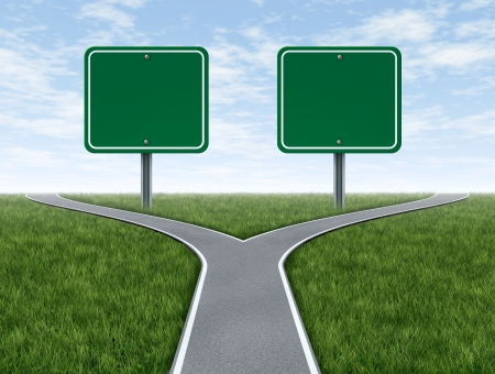 business dilemma: Cross roads with two blank road signs for copy space as a business concept and strategy symbol representing the difficult choices and challenges when selecting the right strategic path for financial planning  Stock Photo