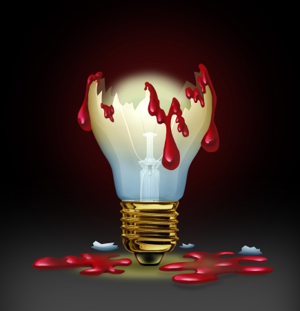 psychopath: Dangerous ideas from a criminal mind as from a psychopath or sociopath with a broken light bulb bleeding human blood as a concept of violent thoughts and evil plans  Stock Photo