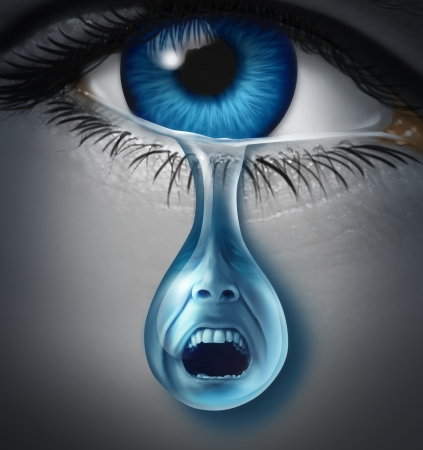 Distress and suffering with a human eye crying a single tear drop with a screaming facial expression of anguish and pain due to grief or emotional loss or business burnout  Stock Photo