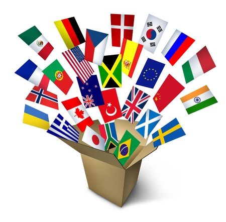international shipping: Global shipping and freight services and worldwide delivery transport with an open cardboard cargo box and flags from around the world flying out on a white background  Stock Photo