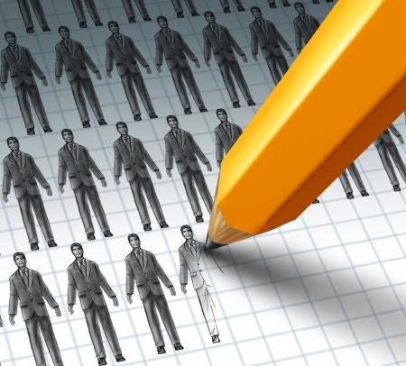empleados trabajando: Contrataci�n de empleados y la adici�n de nuevas oportunidades de trabajo a un grupo de gente de negocios como un l�piz dibujando un nuevo empresario como trabajador reci�n contratado para una carrera de apertura Foto de archivo