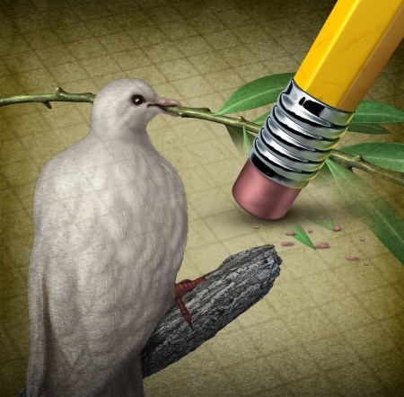 tribalism: Losing peace crisis concept with a white dove holding an olive branch being erased by a pencil eraser as a symbol of challenges in search for a truce or agreement to stop fighting in the middle East or other countries at war  Stock Photo