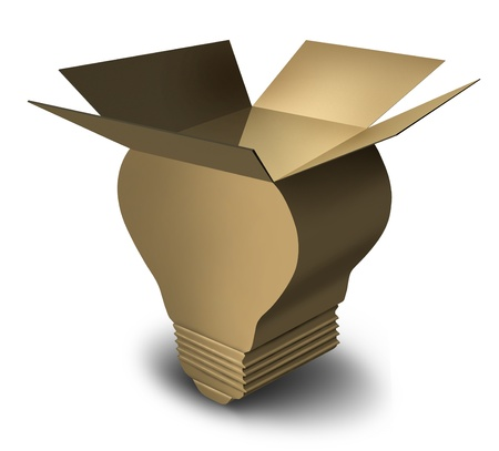 merchandise: Moving solutions with an opened brown cardboard box shaped as a light bulb as a concept of innovative ideas in delivering merchandise by freight transportation and packaging