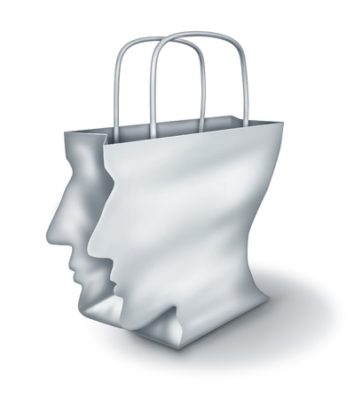 liesure: Shopping solutions and intelligent shopper as a concept of a bargain hunter with a white paper bag shaped as a human head on a white background