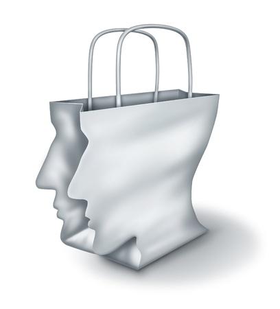 compras compulsivas: Soluciones comerciales y los compradores inteligentes como un concepto de un cazador de gangas con una bolsa de papel blanco en forma de una cabeza humana sobre un fondo blanco