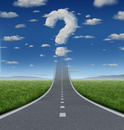 financial questions: Success Questions and uncertain strategy with a road or highway going up to the sky fading into a cloud shaped as a question mark as a business concept of the challenges of reaching your goals  Stock Photo