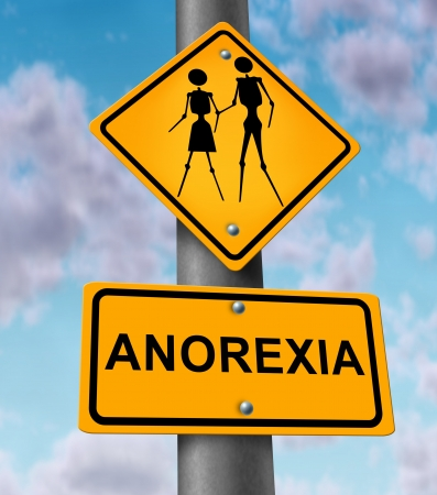 Anorexia disease and eating disorder medical concept with the psychological fear of getting fat or gaining weight as a yellow traffic sign with a symbol of very skinny and underweight people walking
