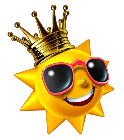 Best sunny vacation traveling concept with a smiling summer sun character wearing a gold crown with sunglasses as a happy glowing hot seasonal fun icon of relaxation with hot weather isolated on white  photo