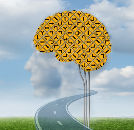 Brain functioning with a group of confusing yellow road signs in the shape of a human brain on a summer sky with clouds shaped as a head as a mental health concept