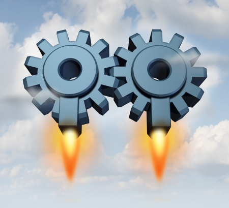 merge together: Business partnership launch with a group of two gears or cogs connected together as a working team with rocket launchers taking off for financial success on a sky background