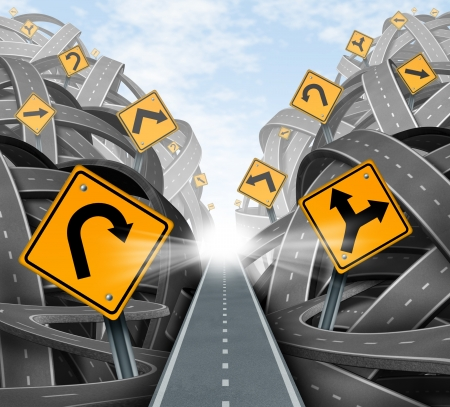 complexity: Clear strategic solution for business leadership with a straight path to success choosing the right strategy path with yellow traffic signs cutting through a maze of tangled roads and highways