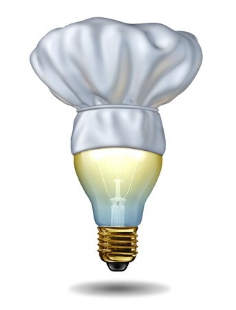 new ideas: Cooking ideas and creative cuisine or baking creativity with a chef hat on an illuminated light bulb on a white background as a food and drink concept of intelligent meal choices  Stock Photo