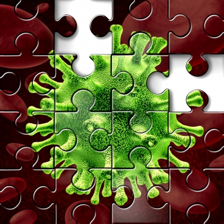 contagious: Disease research as a three dimensional medical illustration of a virus and bacterium floating over blood cells shaped as a jigsaw puzzle with missing pieces as a concept of scientific search for a cure to illness