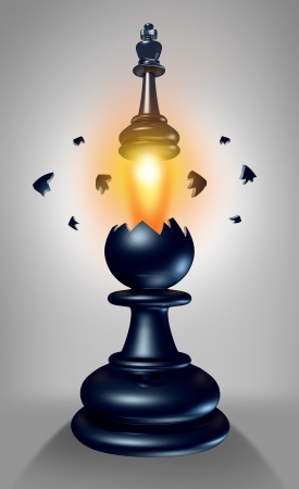power within: Emerging leadership and the power within to lead in business as a chess game king figurine breaking out of a pawn as a concept for success and aspirations to excell to a your full potential  Stock Photo
