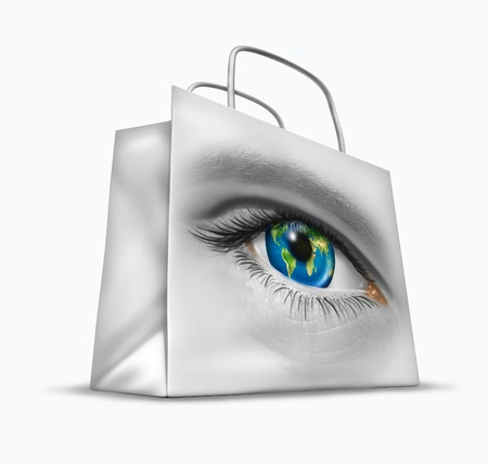 international internet: Global buyer in world trade and international commerce as a business symbol of searching for the best exports and imports for retail sales as a financial shopping bag with a human earth sphere eye  Stock Photo