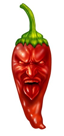 bell pepper: Hot pepper and extreme intense spicy flavor food symbol with a character expression on a red chili as southern and mexican cuisine or Indian cooking concept isolated on a white background