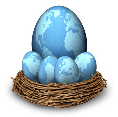 global retirement: International investments and global finance savings business symbol with four blue eggs and a big one with maps of the world in a nest as a concept of long term retirement savings in regions as Asia North America Europe and Latin America
