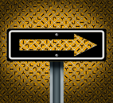 stay at the course: Keeping your focus and avoiding distractions on a clear goals path to personal and business success as a group of confused yellow traffic signs with a large arrow sign window pointing to the future  Stock Photo