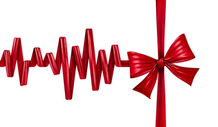 ecg monitoring: Medical life gift as in blood donation or organ donor program as a health care award symbol with a red silk ribbon and bow in the form of an ECG life line on an isolated white background  Stock Photo